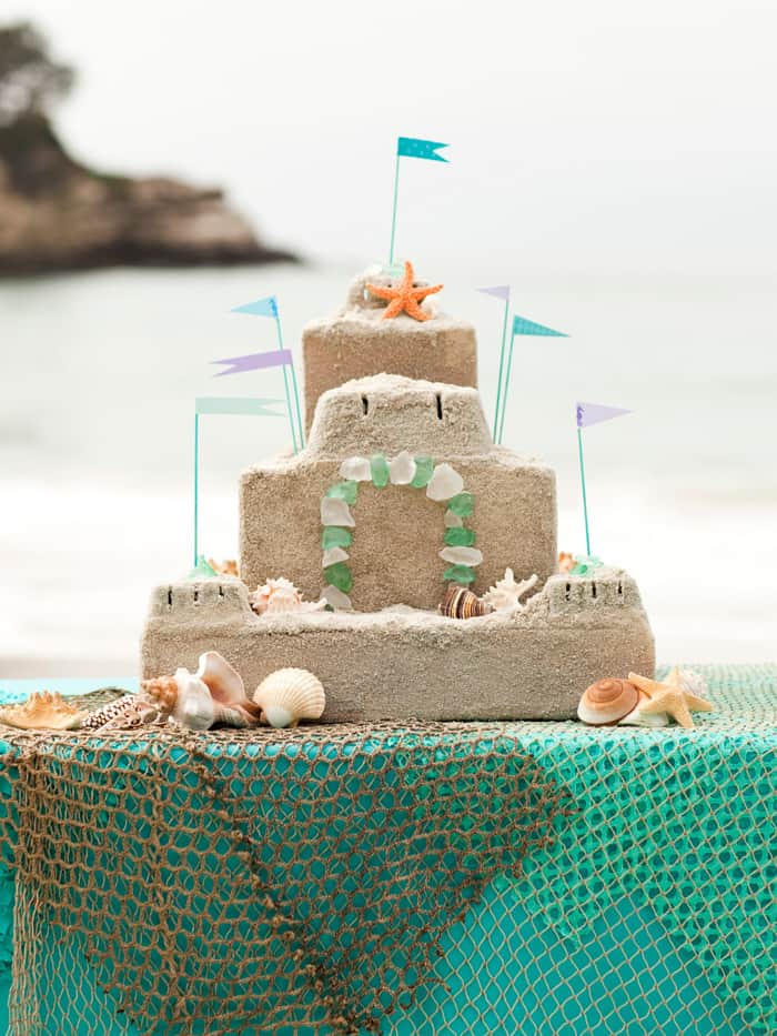 Mod Podged sandcastle party centerpiece
