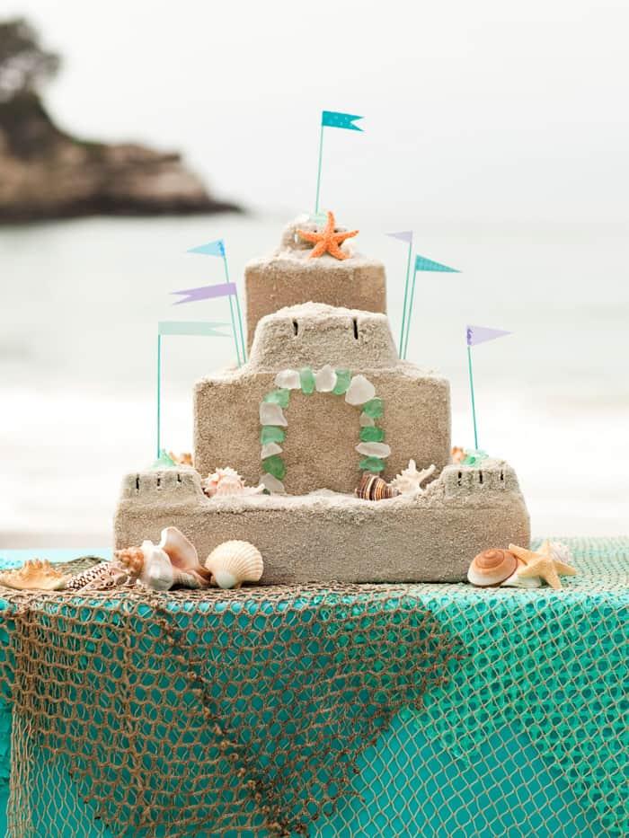 Mod Podged sandcastle party centerpiece