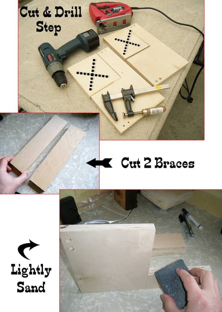 Cut drill and lightly sand two pieces of plywood