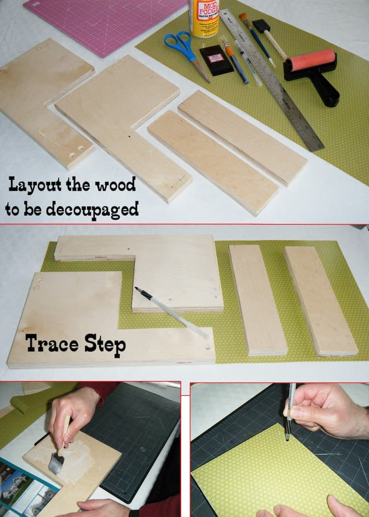 Lay out wood and trace on scrapbook paper
