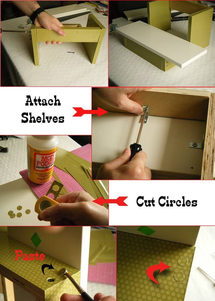 Attach shelves and brackets to DIY plant stand