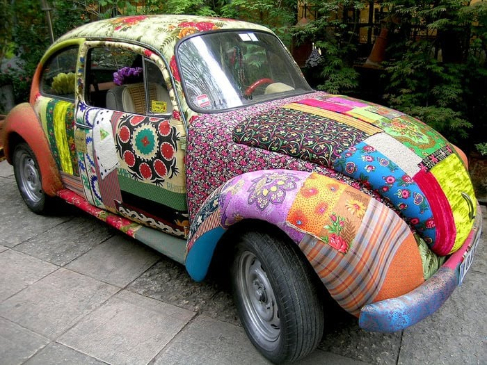 I really want a Mod Podge car! This cool car looks like it's covered in fabric and decoupage medium. Would you ever Mod Podge a car?!