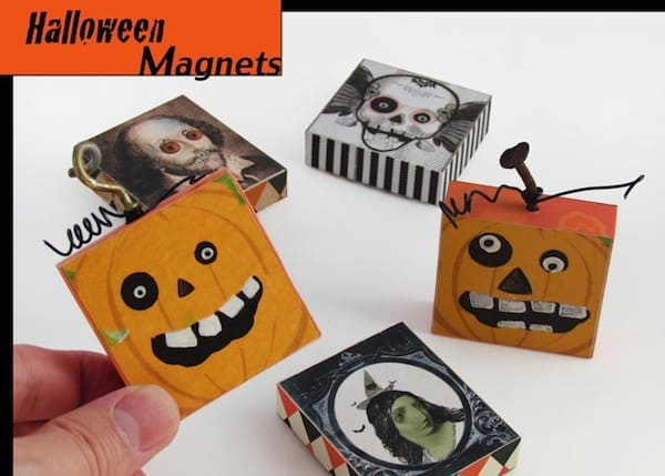 DIY Halloween pumpkin trick or treat magnets