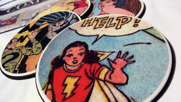 Make coasters using comic books