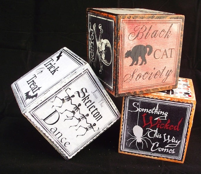 If you love the vintage look, try adding these DIY Halloween blocks to your decor. They are very easy and can be used to display candles.