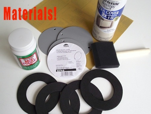 Electrical outlet covers, foam brush, Outdoor Mod Podge, and white spray paint