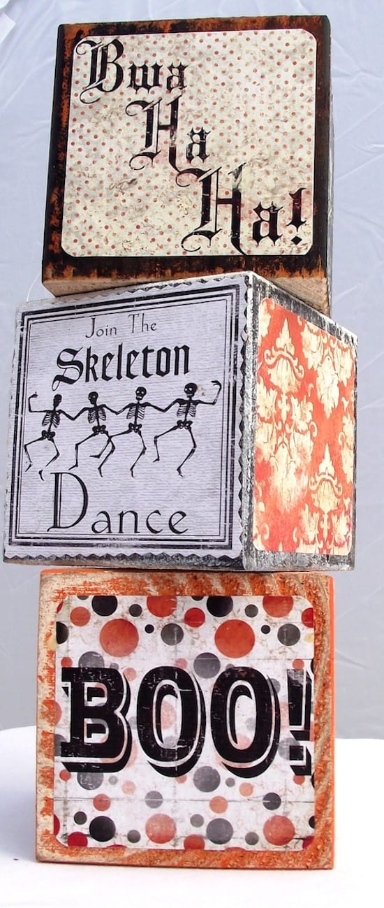 DIY Mod Podge vintage Halloween blocks