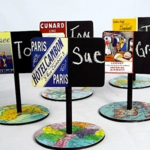 DIY place cards with chalkboard