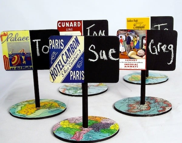 With the addition of vintage images and maps, these DIY place card holders are completely unique. I love the addition of chalkboard paint to customize!