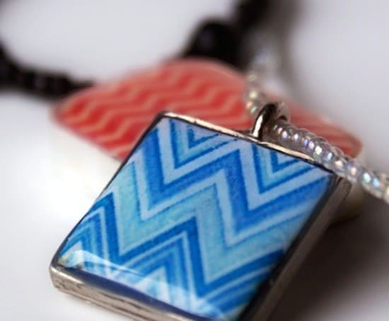 Chevron polymer clay pendant DIY