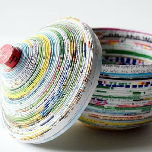 Decoupage magazine coil bowl