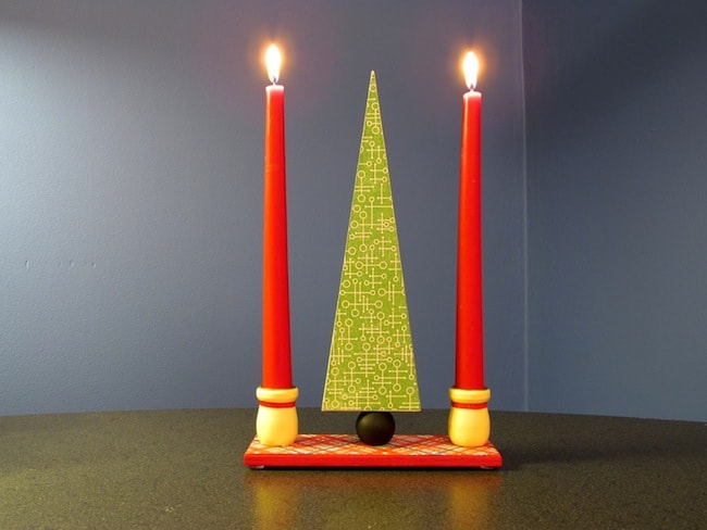 Make a modern holiday centerpiece with candles