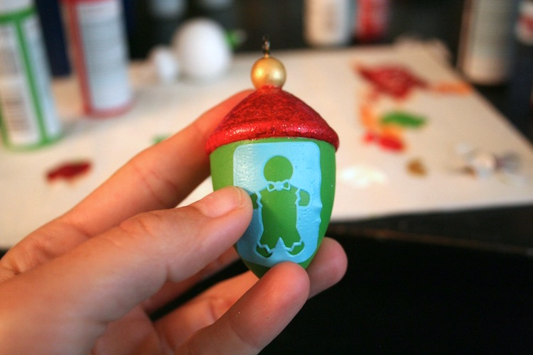 Adhesive stencils on Christmas ornaments