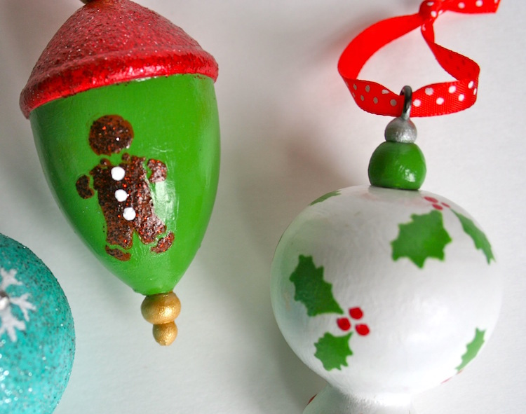 Close up Martha Stewart Christmas ornaments