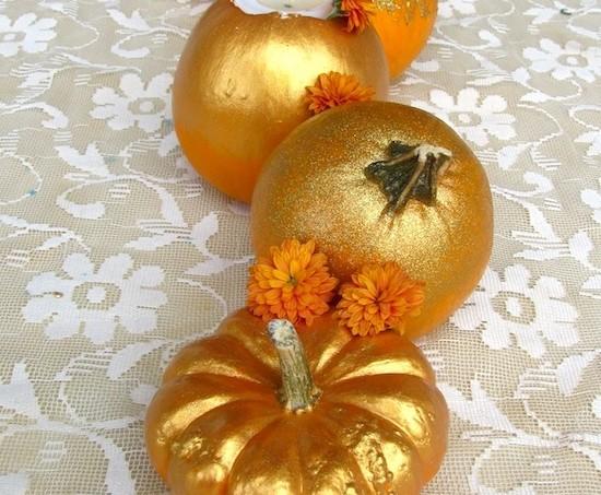 mod podge gilded pumpkins