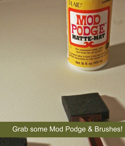 Bottle of Mod Podge Matte and a foam brush