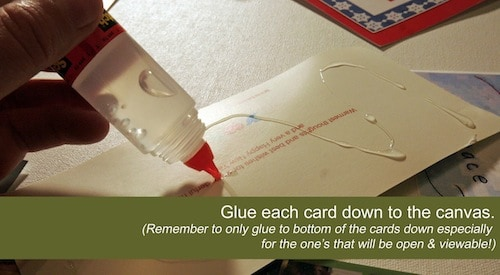 Glue the Christmas cards down