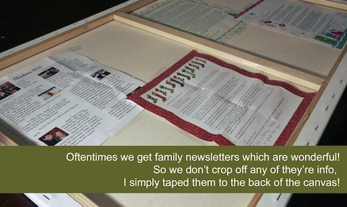 Christmas newsletters in the back of the canvas
