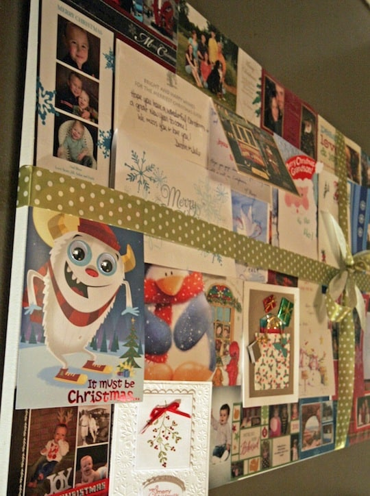 Recycled holiday Christmas card decor