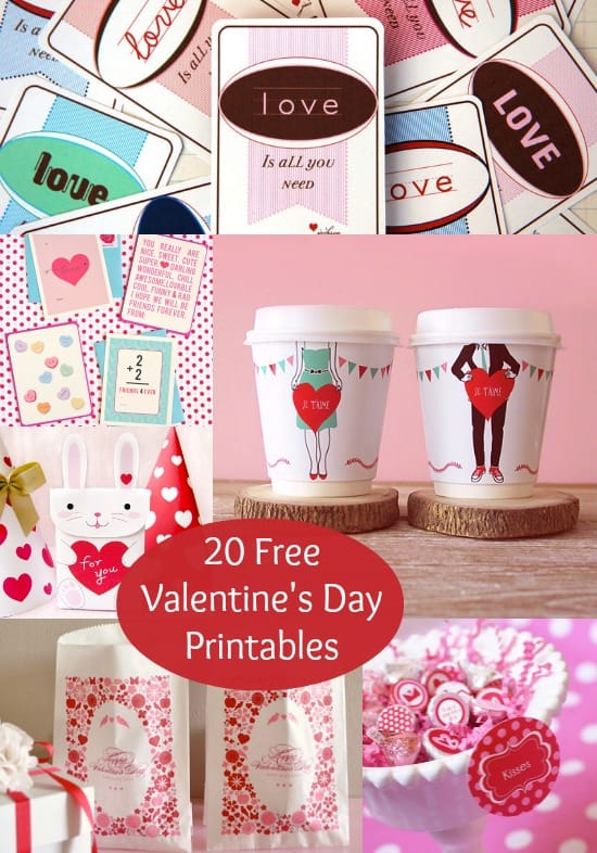 These valentines day printables are so cute and fun! There are choices ranging from cup wrappers to goodie bags to standard valentines.
