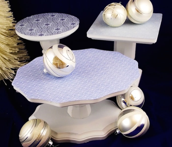 I love festive touches at holiday parties! David did just that with these Mod Podge DIY cake stands - they even come apart for storage!