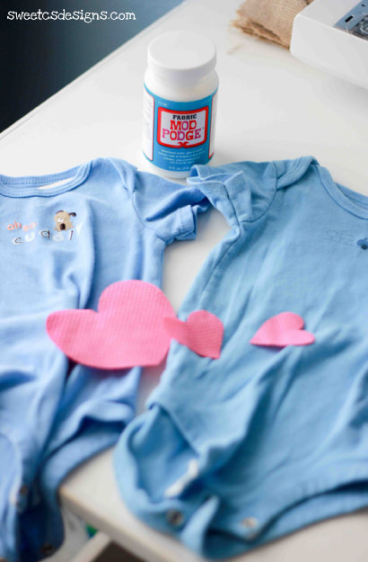 Custom onesies with Fabric Mod Podge