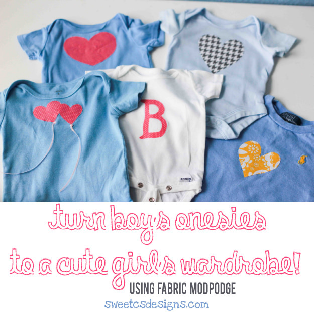 Cute DIY onesies made with Fabric Mod Podge