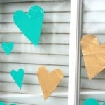 Valentine craft for kids: heart glass clings
