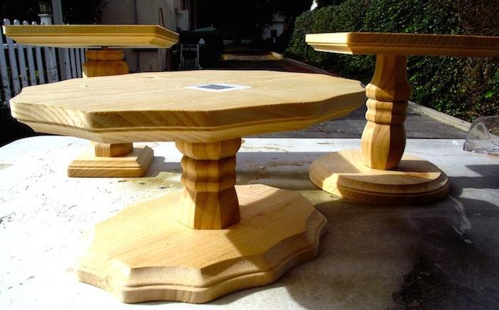DIY wood cake stands