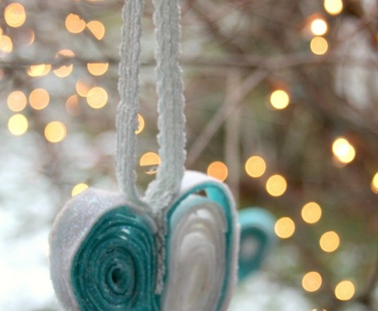 aqua heart ornament