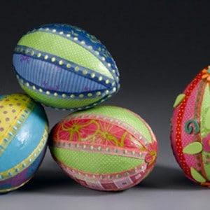Paper and ribbon Styrofoam Easter egg cr...
