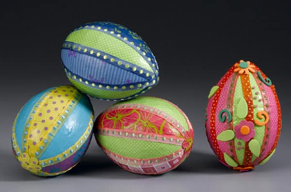 Bright paper and ribbon DIY Easter eggs