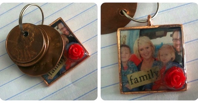 Handmade penny keychain for good luck