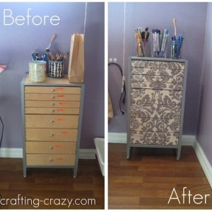 Use fabric and Mod Podge to upcycle an old organizing cabinet. This furniture makeover project is really easy - you'll love this technique!