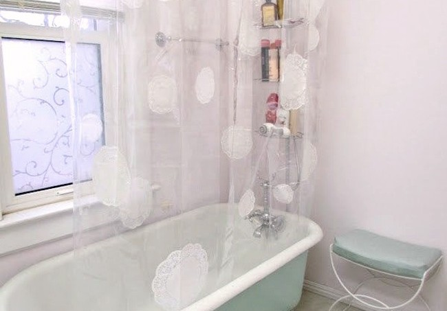 Mod Podge doily shower curtain