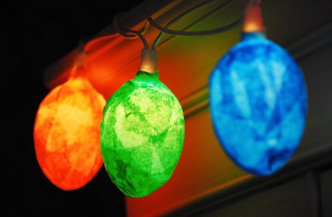 Mod Podge egg lights