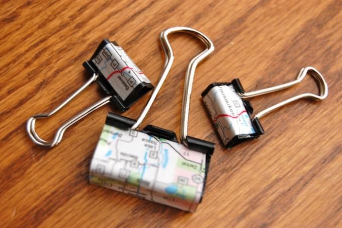 Mod Podge map binder clips