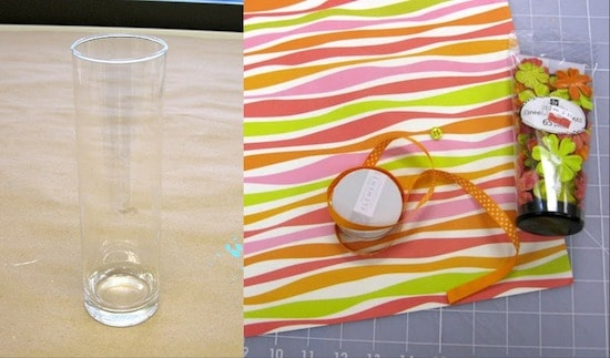 supplies to decorate a glass vase from Dollar Tree