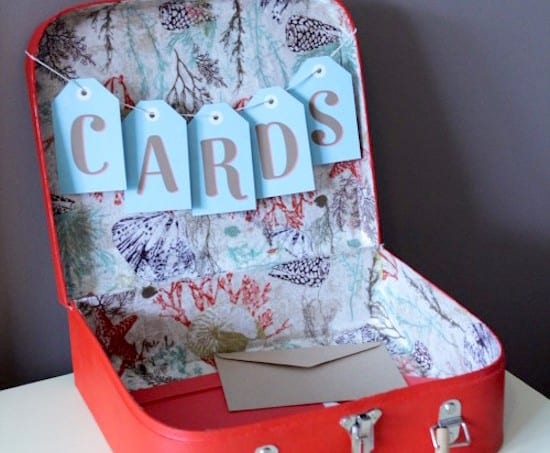 Collect cards at your wedding in style. This DIY wedding card box from a suitcase is trendy and easy to make . . . and easy to pack after the party.