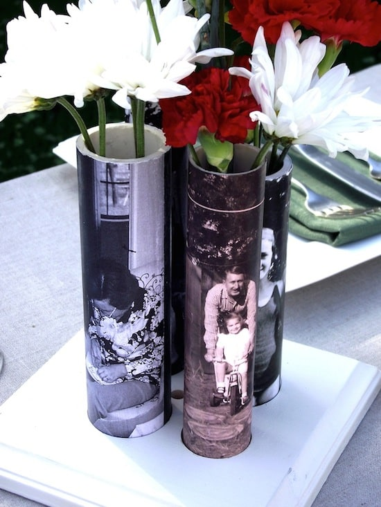 You won't believe this genius Mother's Day craft idea - David makes photo vases out of PVC pipe! He added personalized images to make it the perfect gift.