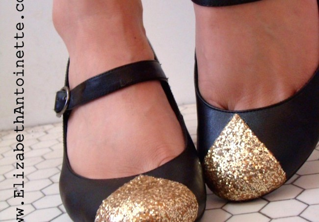 Gold toe Mod Podge shoes