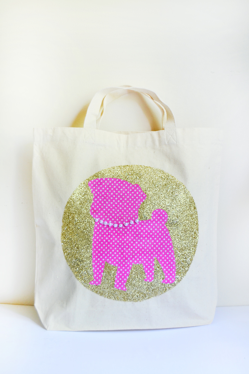 decorating tote bags with glitter and a pug applique