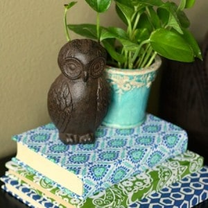 Fabric covered books for home decor