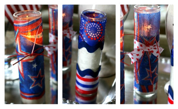 Make firecracker candles for Fourth of July using dollar store votives, napkins, and Mod Podge. These are so easy and look great for the holiday!