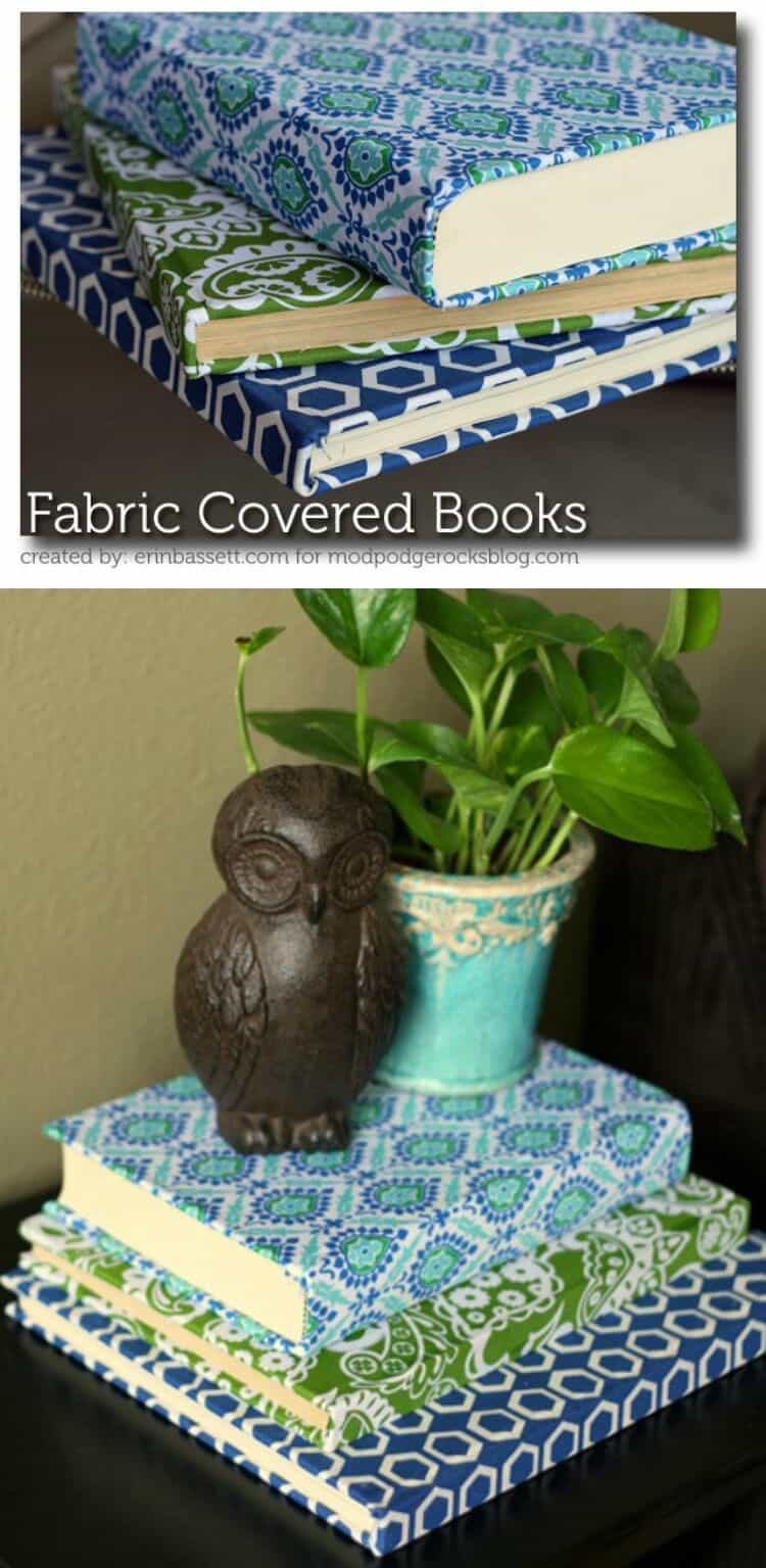 Fabric Covered Book : Fabric covered books for home decor mod podge rocks
