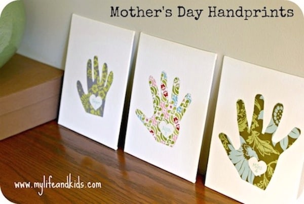 Mothers day craft for kids: handprint canvases