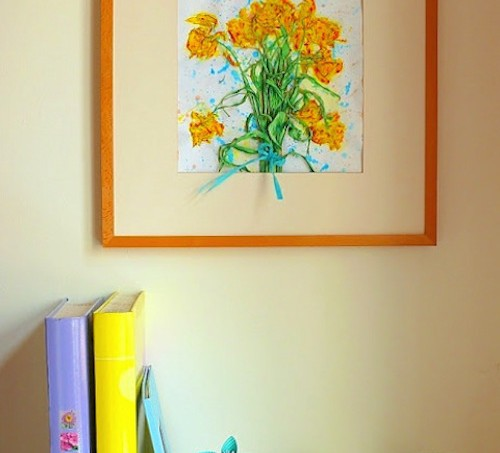 Mod Podge dried flower wall art