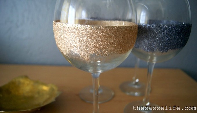 Mod Podge glitter wine glasses