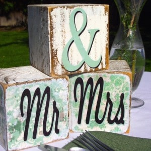 These Mr and Mrs blocks are very easy wedding decor - they make great centerpieces or even table numbers, and you can personalize to match your palette.