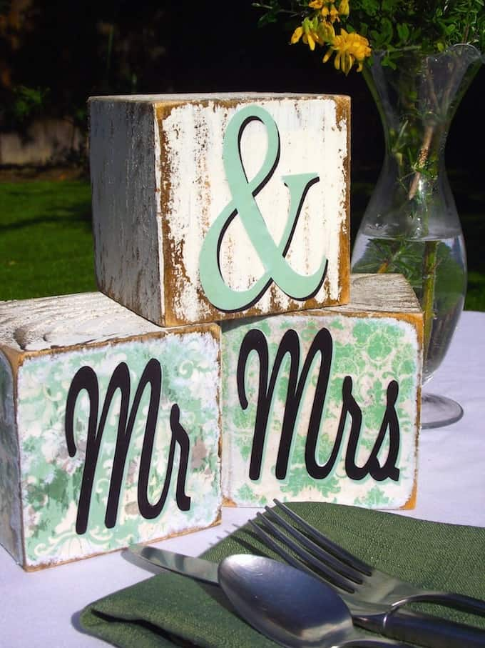 Mr and Mrs Wedding Blocks